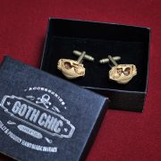 CAT Skull Cufflinks - Scary Hand made resin Victorian cat skull cuff links