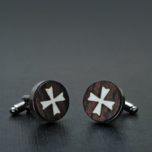 Cross Cufflinks - Elegant rosewood hand inlaid with bone