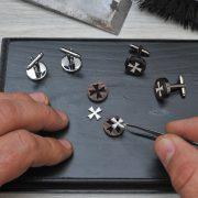 Cross Cufflinks - Elegant rosewood hand inlaid with bone