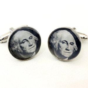 Cufflinks -  Fortune ONE Dollar - George Washington -  wedding cufflinks -