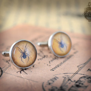 "Cufflinks - Gothic- Steampunk ""dead spider"" vintage style -  hand made - Gift for Him -"