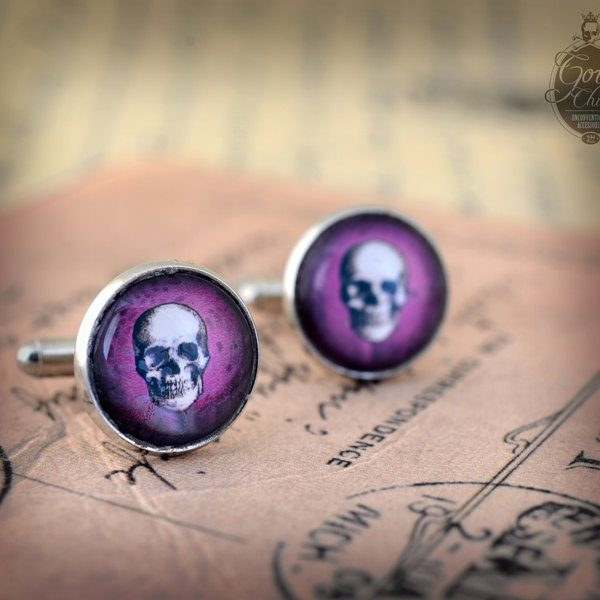 "Cufflinks - Gothic- Steampunk ""Purple SKULL"" - vintage style - hand made - Gift for Him -"