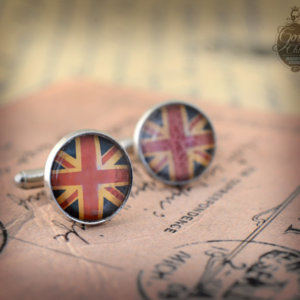 "Cufflinks - Gothic- Steampunk ""UK Flag - Union Jack"" - vintage style - hand made - Gift for Him -"