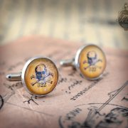 "Cufflinks - Gothic- Steampunk ""Yale Skull and Bones 322"" - vintage style - hand made - Gift for Him -"