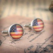 Cufflinks -  USA Flag  vintage style Stars and Stripes -