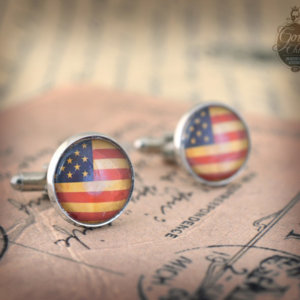 Cufflinks -  USA Flag  vintage style Stars and Stripes -