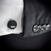 Ebony Skull Cufflinks - Hand made African ebony wood cuff links with mustache in turquoise color enamel