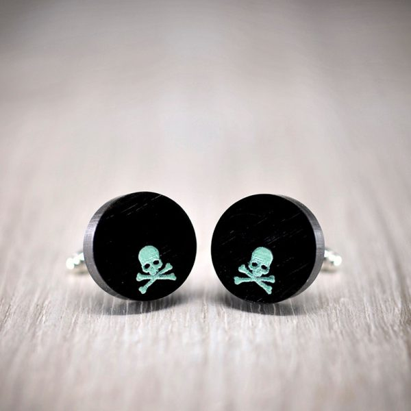 Ebony Skull Cufflinks - Hand made African ebony wood cuff links with skull in turquoise color enamel
