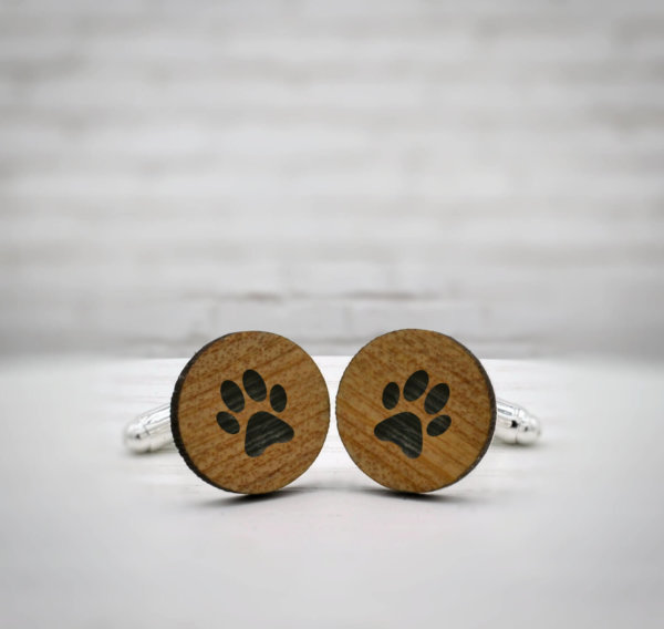 ELEGANT WOOD cufflinks - dog footprint stylish accessory