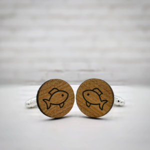 ELEGANT WOOD cufflinks - fish stylish accessory