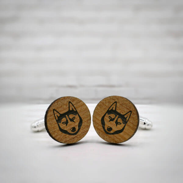 ELEGANT WOOD cufflinks - husky stylish accessory