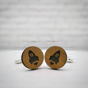 ELEGANT WOOD cufflinks - rocket stylish accessory