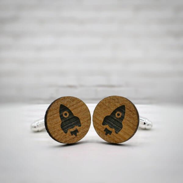 ELEGANT WOOD cufflinks - rocket stylish accessory