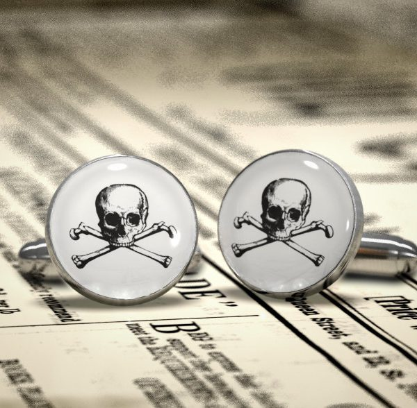 Gothic Wedding Cufflinks - Skull and bones society , Groom, Groomsman, Best Man or TEAM Groom Cuff Links