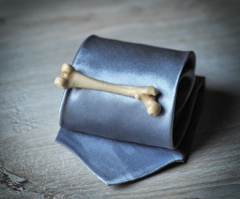 Human Bone Tie Clip - synthetic ivory femur replica tie bar
