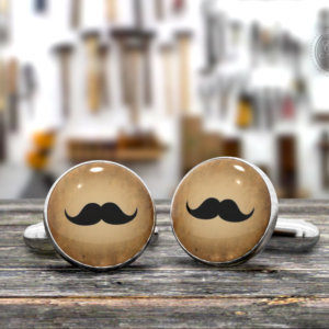 Moustache Cufflinks - Made in Italy Mens Cufflinks - Free Gift Box.