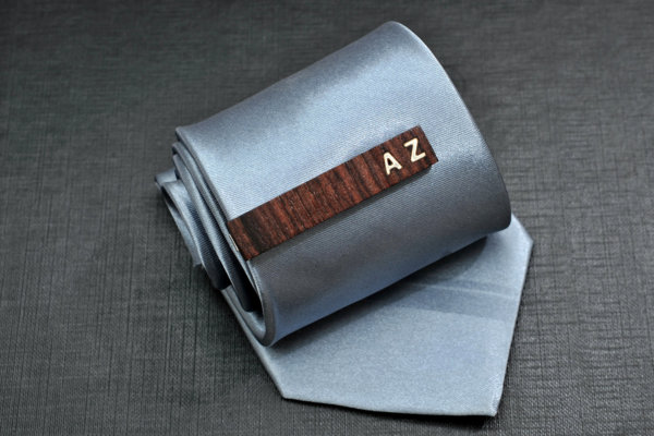Personalized TIE CLIP - Fine Rosewood with custom bone inlay initials.