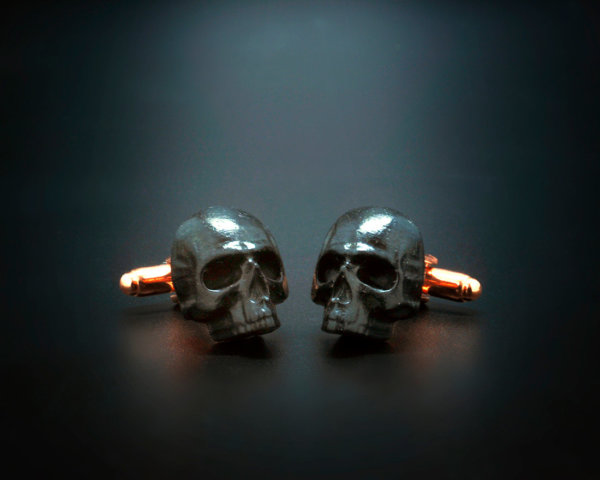 Precious Ebony Skull Cufflinks - Hand made carved african ebony wood cuff links