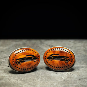 Precious thuya burl Cufflinks - Hand made carved and engraved wood cuff links