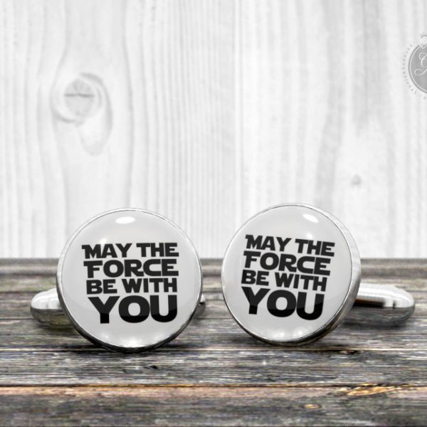 "Quote cufflinks - Star Wars ""May the FORCE be with you"" - Very elegant mens cuff links"