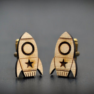 Rocket wood cufflinks - Fly Me To The Moon