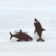 SHARK Cufflinks - Organic rosewood laser cut cuff links