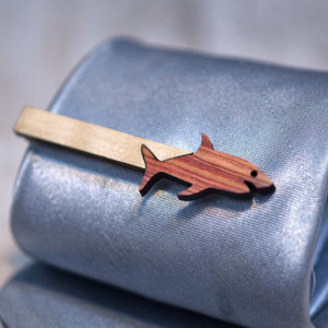SHARK Tie Clip - Maple wood and Bois de Rose  tie bar