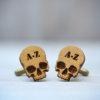 SKULL Cufflinks - CUSTOM Monogram Initials wood cuff links