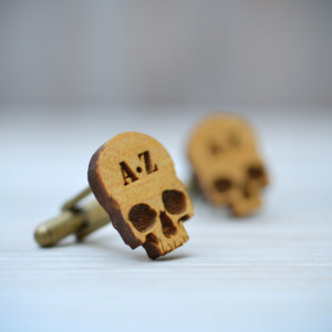 SKULL Cufflinks - CUSTOM Monogram Initials wood cuff links
