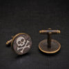Skull Cufflinks - rosewood hand inlaid with bone