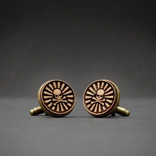 SKULL cufflinks - Wood  engraved cuff links