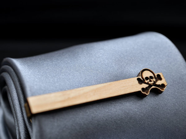 Skull Tie Clip - Maple wood tie bar