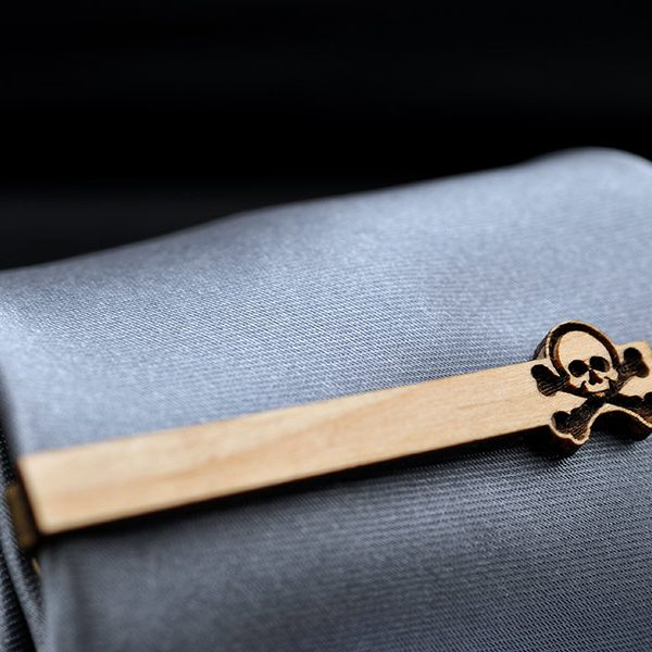 Skull Tie Clip - Maple wood tie bar