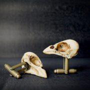 Sparrow Skull Cufflinks - Hand made realistic replica bird skull cuff links