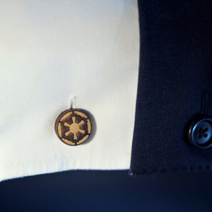 Star Wars cufflinks - Galactic Empire logo - Maple wood mens cuff links