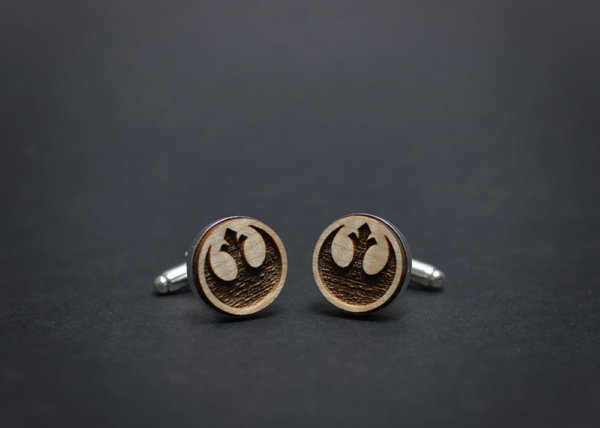 Star Wars cufflinks - REBEL ALLIANCE logo - Maple wood mens cuff links