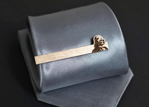 Star Wars Tie Clip - DARTH VADER Maple wood tie bar