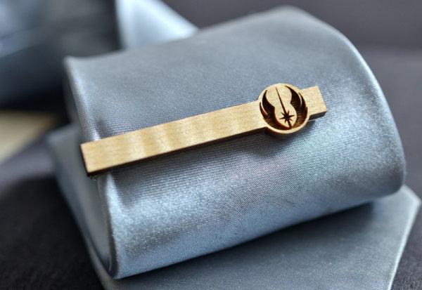 Star Wars Tie Clip - JEDI ORDER Maple wood tie bar