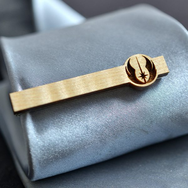 Star Wars Tie Clip - JEDI ORDER Maple wood tie bar