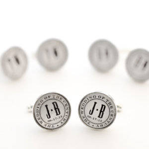 The Wedding of the Century - Monogram and date Personalized Cufflinks  - Very elegant custom cuff links