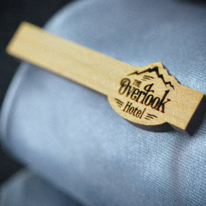 Tie Clip The Shining Overlook Hotel - Cypres wood  engraved