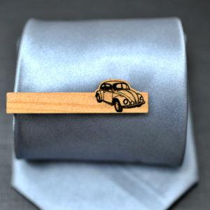 Tie Clip VW Beetle  - cypress wood elegant tie bar