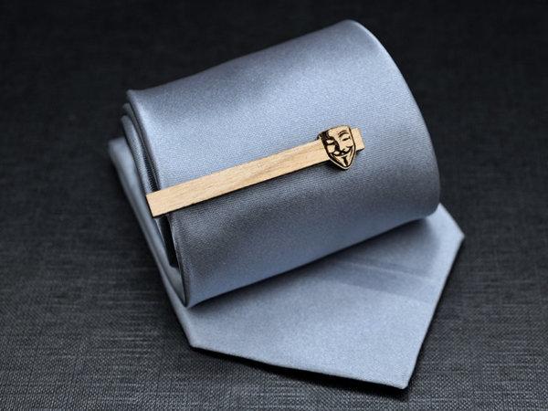V for Vendetta Tie Clip - Maple wood tie bar