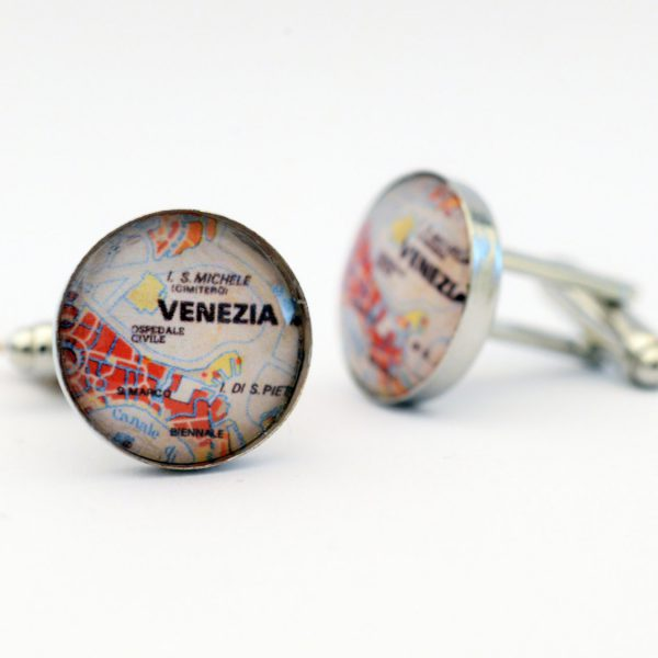 Venezia - Italia - (Venice Italy) Map Cufflinks - Perfect gift for a traveler man.