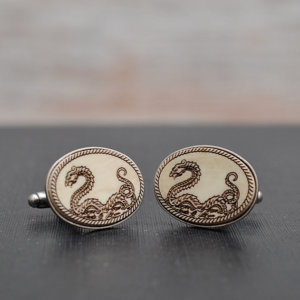 Victorian DRAGON Cufflinks - Aged style acrylic cuff links
