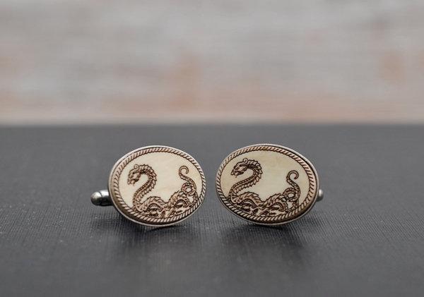 Victorian DRAGON Cufflinks - Aged style acrylic cuff links