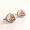 Victorian Pirate Ship Cufflinks - Aged style acrylic cuff links
