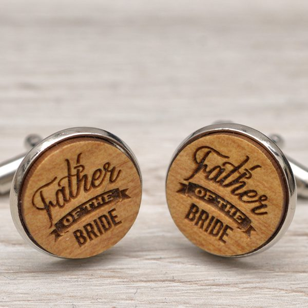 Wedding Cufflinks - Father of the Bride  - Very elegant wooden wedding ceremony cuff links