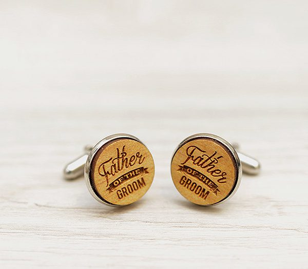 Wedding Cufflinks - Father of the Groom - Very elegant wooden wedding ceremony cuff links