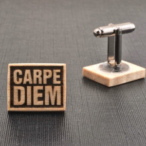 WOOD cufflinks -CARPE DIEM quote - Very elegant mens cuff links